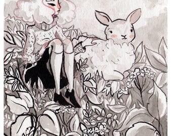 Sheep Familiar. Watercolor illustration print.