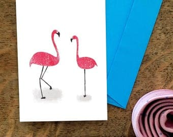 Fabulous Flamingos | A6 Greetings Card | Collage | Texture | Just Because | Birthday | Pink | Mum | Best Friend | Thank You | Snowtap