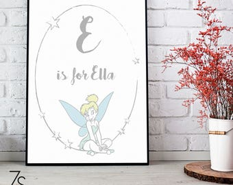 T is for Tinkerbell - A4 Disney Print. Option to be personalised with name and initial. Grey with pastel colours.