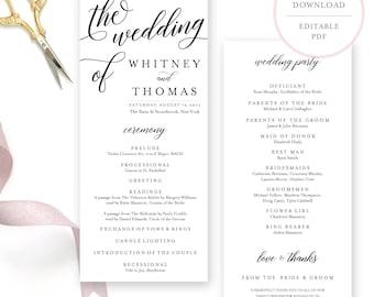 Calligraphy Wedding Program. Program Template. Wedding Program Instant Download.  Wedding Program Template Download. Printable Program. (BR)