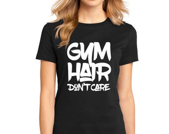 "Ladies Perfect Weight Crew Tee 100% Ring Spun Cotton ""Gym Hair don't Care"" a RealLifeOutfits original design perfect workout shirt"