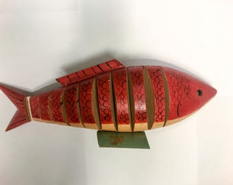 Flexible Fish and base hand made & painted wood