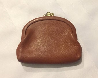 Vintage St Thomas Coin Purse - Top Grain Cowhide Coin Purse - Brown Leather Coin Purse