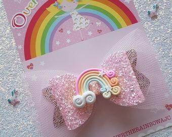 Rainbow Sparkle Glitter Bow, Hair Clip Hair Bow,