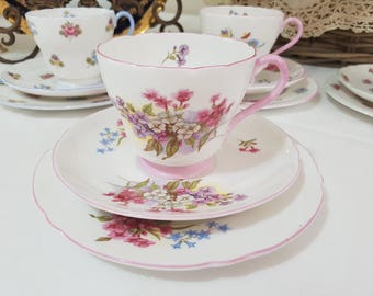 SHELLEY 'Stocks' Tea Cup Trio Set, Vintage Fine Bone China, England c1945-66