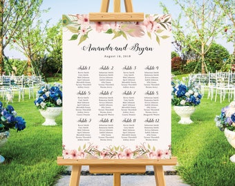 Bohemian wedding seating chart, wedding seating plan, feather watercolor, barn wedding, pastel wedding sign, personalize wedding poster