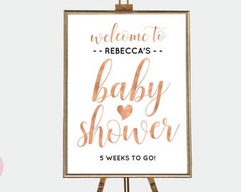Rose gold baby shower sign, Rose gold baby shower decorations, Baby shower welcome sign, Blush baby shower decor, Printable baby shower sign