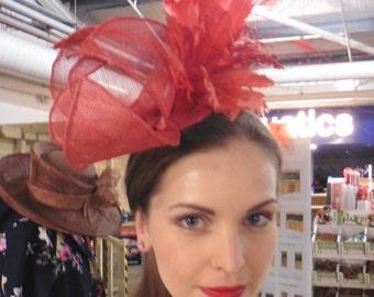 orange Red Fascinator,Terracotta Fascinator,Orange Red Wedding Hat,Teracotta Ascot Hat,Ascot Hat Red,Wedding Hat Red,Fascinators,Red Hat