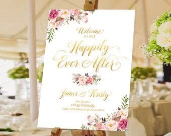 Bohemian Wedding Sign, Wedding Welcome Sign, Printable Wedding Sign, Welcome Wedding Sign, Floral Wedding Sign, wedding sign - US_WS0705