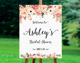 Bridal Shower Welcome Sign, welcome wedding sign, Bridal Shower sign, Bridal Shower decoration, Bridal shower invitation - US_BS0105a