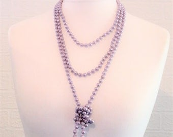 Lavender/Lilac Pearl Effect Necklace/Twin String of Pearls Bead Necklace/Retro Necklace/Circa 1980s