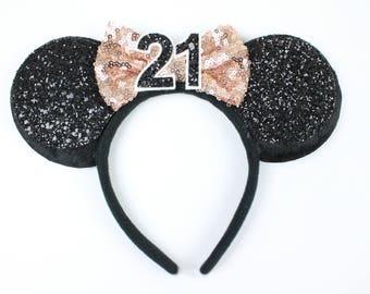 Minnie Mouse Ears Headband with Rose Gold Glitter Bow | Minnie Ears | 21st Birthday Headband | Disney Gift | Minnie Ears Black + Rose Gold