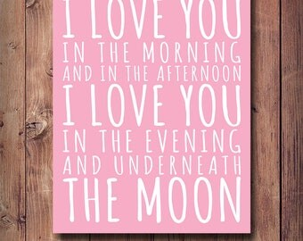 50% OFF I Love You In The Morning And In The Afternoon Print, Nursery Print, Girls Room Decor, Printable Girls Gift, Pink Wall Decor