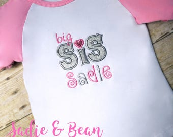 Promoted to big Sister shirt, personalized big sister shirt, big sister announcement, big sis, big sister shirt, little sister shirt, pink