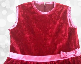 Dress girl red velvet Christmas or new year 2 to 10 years