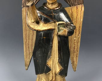 19th Century Carved Wood Religious Saint Vicente Ferrer