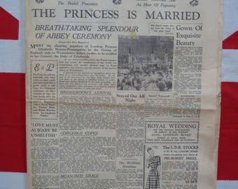 Royal Wedding. Princess Elizabeth. Original Portsmouth Evening News 1947