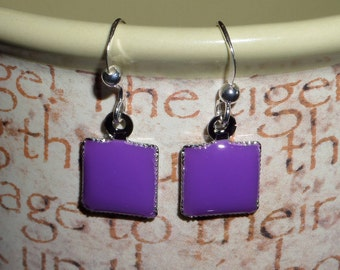 Purple and Silver Dangle Earrings, Casual, Every Day Wear