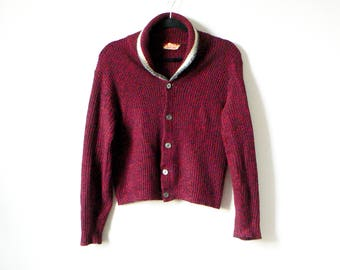 60s Collared Cardigan Sweater - Red Knit Striped Button Up Ribbed College Athletic 60s Cardigan - Men's M