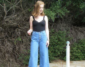 80s, 90s Baxis 26 /2 /4 Button Fly / High Waist / Wide Leg / Palazzo Pants / Faded Mom Jeans