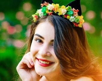 Flower Cat ears headband,Cat ears costume,kitty flower,black kitty ears,Velvet cat ears headband,Floral Cat ears,Cat headpiece,Cat Headband