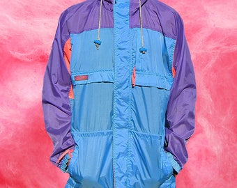 Vintage An Kou Neon Colour Block Windbreaker Jacket - 80s - L
