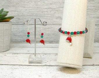 Beaded Bracelet, Girls Charm Bracelet, Girl's Bracelet, Santacharmbracelet, Christmas bracelet, Santacharmearrings, Christmas Gift