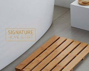Signature Home Pine Apartment Duckboard, wooden mat, Bathroom mat, Pine mat, Solid wood mat.
