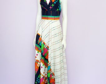 Vintage 70's full length halter dress // maxi // graphic rainbow print // R-modelle // Eur 34 / US 4 / UK 6