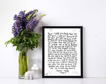 Have I told you lately Custom Lyrics Print, First Dance Lyrics, lyrics poster, Custom anniversary gift, A3 hand lettered, Framed song lyrics