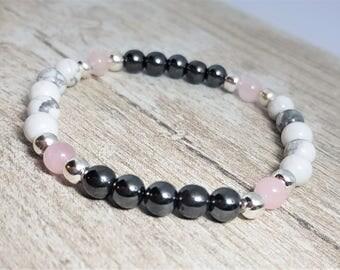 Fertility Bracelet, with Howlite, Rose Quartz & Hematite Healing, Gemstones - IVF TTC Gift - Crystal healing - Reiki