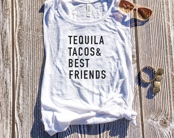 Tequila Tacos & Best Friends, Friends Shirts, Matching Shirts, Taco Shirt, Tequila Shirt, Drinking Shirt,Food Shirt, Taco Tuesday, Mom Life