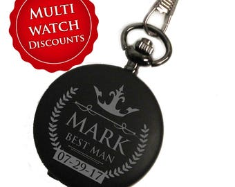 Pocket Watch Engraved, Groomsmen Pocket Watch, Wedding Party Gifts, Personalized Pocket Watch, Mens Pocket Watch, Black Pocket Watch,