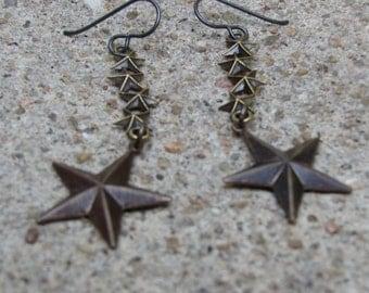Shooting Star earrings- antiqued brass stars on niobium ear-wires