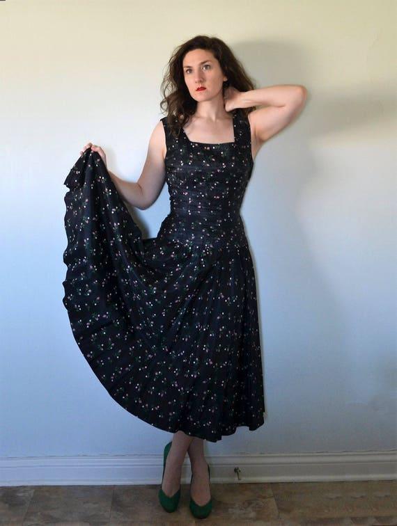 Roisin Dubh Dress | black taffeta party dress | hand painted rose print