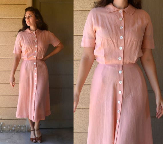 Gentle Strength Dress | vintage 40's blush peach Marshall Field & Co. day dress