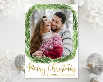 Printable OR Printed Green and Gold Photo Christmas Cards - Green Pine Wreath and Faux Gold Foil Christmas Photo Holiday Cards 018 P1