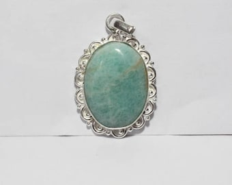 Natural Amazonite Gemstone Pendant - 38x30x5mm Size - Best Quality Pendant - Pd#1381