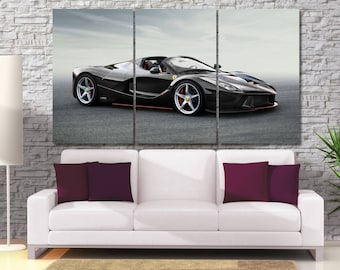 Ferrari Aperta Car Canvas Print -  Framed Extra Large Motor Wall Art - Gray Color Background -Hand Made in Europe for Home and Office_LC063