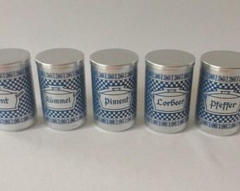 Vintage Aluminium Vorratsdosen, Lorbeer, Zimt, Kümmel, Piment, Pfeffer  Vorratsdose, Küche