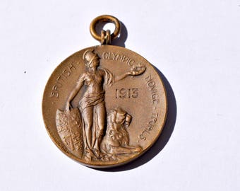 Novice,trials,British,olympic,medal,1913,awards,medal holder,medallion,olympics,olympic games,inspirational,historic,gift,sports memorabilia