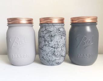 Grey Marble Set Of 3 - Tea, Coffee and Sugar Canisters- Mason ball jar - Copper - Silver
