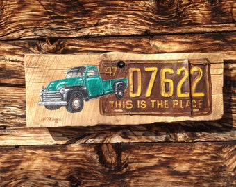 "1947 ""This Is The Place"" UT License Plate Chevy Truck"