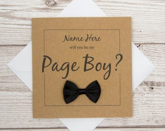 Page Boy Card, Will You Be My Page Boy?, Personalised Wedding Card, Wedding Party Invite, Page Boy Proposal Card, Our Page Boy Invitation
