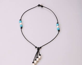 20 inches Handmade Pearls leather necklace,Pendant Necklace,Blue Turquoise Stones Jewelry,White Tear Drop Pearls Dangle Necklace