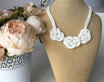 White nautical necklace- White rope necklace- Knot Necklace- Rope jewelry- Bib necklace- Statement necklace- Christmas gift for her