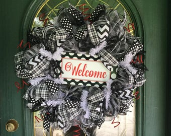 Welcome Wreath with Black and White Deco Mesh