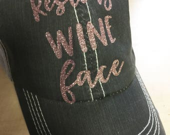 Resting Wine Face Trucker Hat-Distressed hat Rose Gold Glitter
