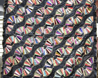 Antique Silk Quilt, Small Victorian Throw or Table Cover, Multi Solid Colors on  Black Background, Ruffled Border, Hand Pieced & Tied #18124