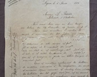 6 Antique Sales Docs & Correspondence, Old French Letter, 1900s French Ephemera, Vintage French Hand Written Docs